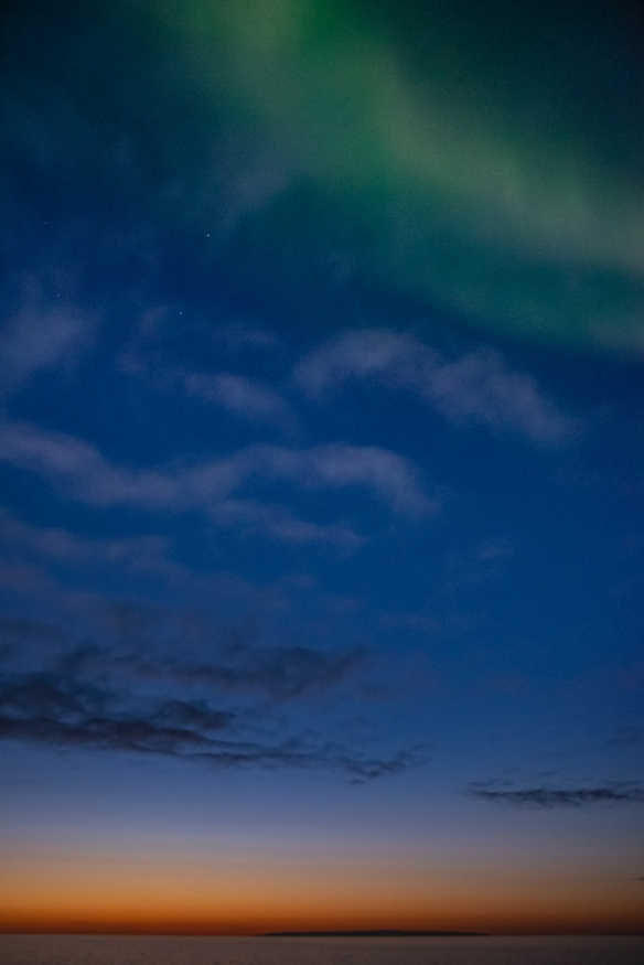 Aurora Borealis #7, photographed from the deck of our ship after sunset in the Northwest Territories, approximately 70 degrees North Latitude, Canada (in the Northwest Passage)