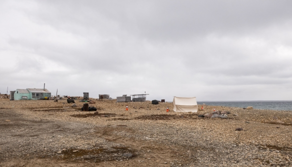 Before going into the town of Cambridge Bay on Victoria Island in the central high Arctic region of Canada, we took a long hike along the stone beach waterfront with an Inuit expedition guide from Pond Inlet, Baffin Island