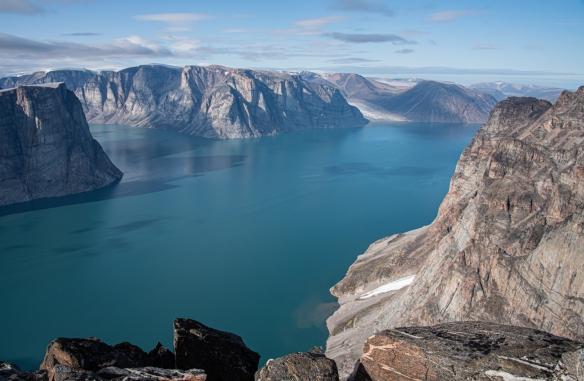 Cliff top photo of Feacham Bay, Buchan Gulf, Baffin Island, Nunavut, Canada, #3 – a view of the fjord