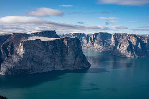 Cliff top photo of Feacham Bay, Buchan Gulf, Baffin Island, Nunavut, Canada, #4 – note how sheer some of the cliffs fronting the fjord are