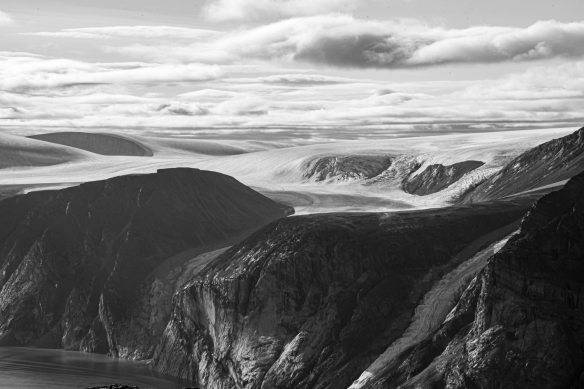Cliff top photo of Feacham Bay, Buchan Gulf, Baffin Island, Nunavut, Canada, #6 – a close up of some of the glaciers across the fjord from our helicopter landing spot (black and white)