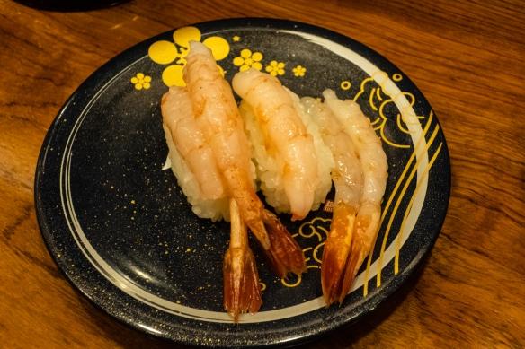 Delicious, sweet shrimp (ebi) sushi at Morimori Sushi, Ōmi-chō Market, Kanazawa, Honshu Island, Japan