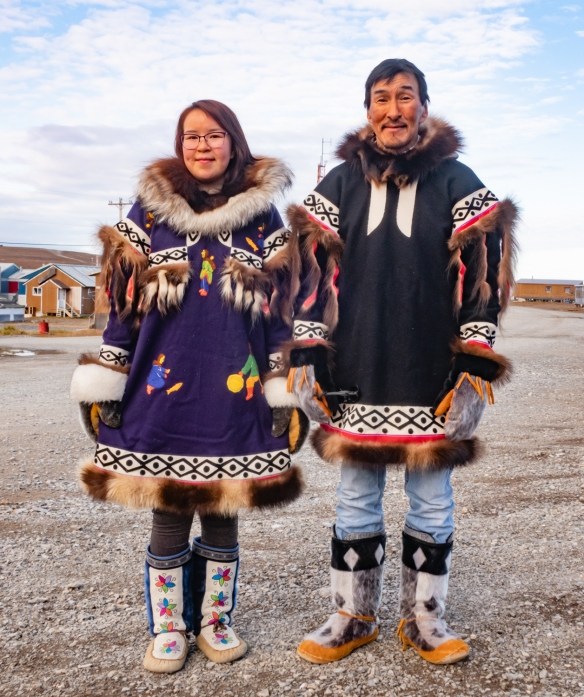 Inuit (local face #1) from Ulukhaktok, Victoria Island, Northwest Territories, Canada – in traditional local Inuit costumes