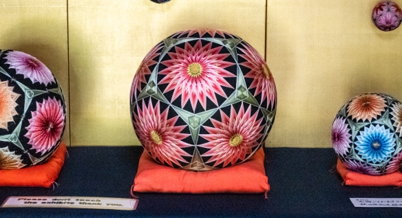 "Large Kaga Temari ""handballs"" woven with silk threads on display at the Kanazawa Shinise Memorial Hall, Kanazawa, Honshu Island, Japan"