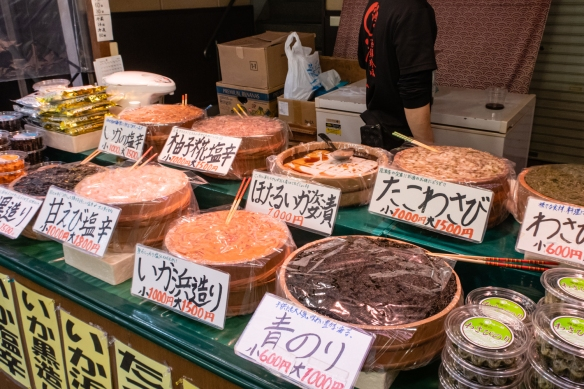 Local seafood delicacies and other prepared foods, including tofu; Ōmi-chō Market, Kanazawa, Honshu Island, Japan