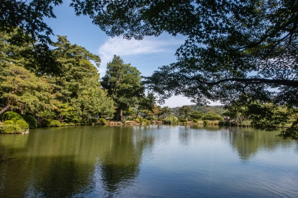 Looking at Kasumigaike Pond from the western side of Kenrokuen Garden, Kanazawa, Honshu Island, Japan