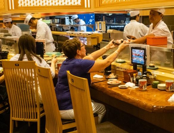 Morimori Sushi is Kanazawa's most recommended conveyer-belt sushi restaurant, offering sushi of outstanding freshness; Ōmi-chō Market, Kanazawa, Honshu Island, Japan