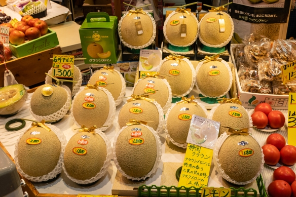Notice the packaging of these melons – quite special, with prices to match (US$18 to US$30, EACH!) -- Ōmi-chō Market, Kanazawa, Honshu Island, Japan
