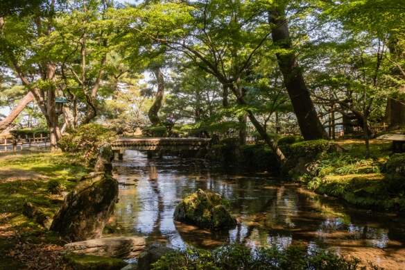 One of several scenic flowing streams in Kenrokuen Garden, Kanazawa, Honshu Island, Japan