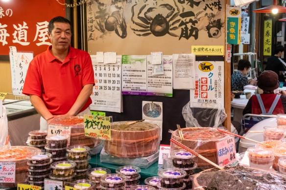One of the 170 vendors in the famed Ōmi-chō Market, Kanazawa, Honshu Island, Japan, that has been supporting Kanazawa's gastronomic culture since the middle of the 18th century