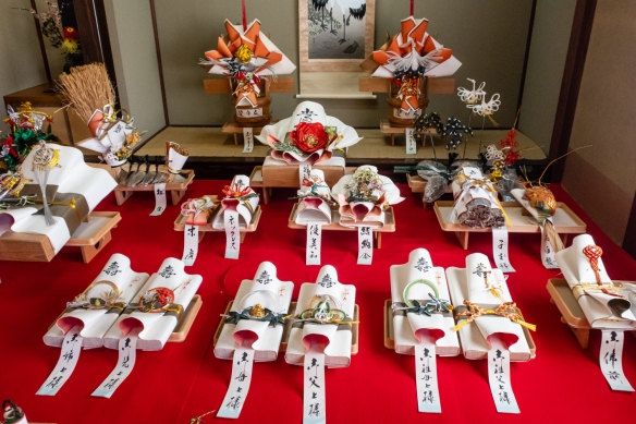 "One room on the second floor in the exhibition space of Kanazawa Shinise Memorial Hall, Kanazawa, Honshu Island, Japan, contained a large display of packages wrapped with ""ceremonial paper cords"""