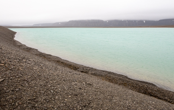 Our hike came by a lake that reminded us of the Blue Lagoon in Ireland – the bluish color was due to minerals coming into the water, Radstock Bay, Devon Island, Nunavut, Canada