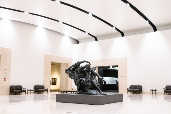 Shimane Art Museum #3, Matuse, Shimane Prefecture, Honshu Island, Japan – a large Rodin sculpture graces the second floor foyer that opens up to the art exhibition galleries