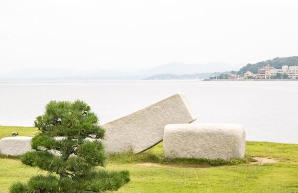 Shimane Art Museum #5, Matuse, Shimane Prefecture, Honshu Island, Japan – outdoor sculpture overlooking Lake Shinji
