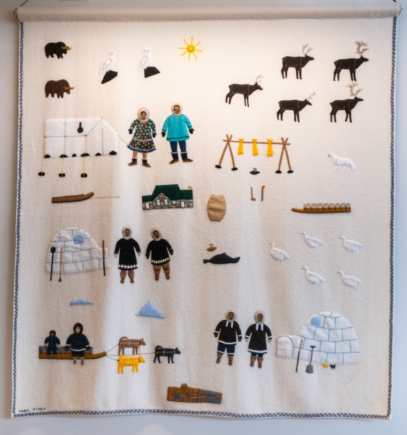 "The Canadian High Arctic Research Station (CHARS) main research facility has an excellent collection of local Inuit art; pictured here is a duffel and felt quilt by local artist Mabel Pongok ETEGIK (born 1943) titled ""Present Day Cambridge Bay"""