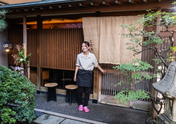 The charming wooden exterior of the excellent (but hidden from street view) sushi restaurant, Otomezushi, Kanazawa, Honshu Island, Japan, where we enjoyed an outstanding luncheon