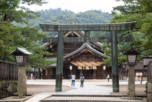 The main entrance to Izumo Taisha Shrine, one of Japan's oldest and most important shrines, is at the giant torii gate pictured here; Izumo, Shimane Prefecture on Honshu Island, Japan