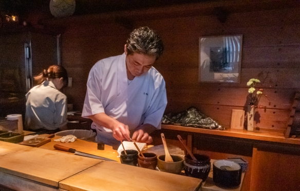 The master sushi chef preparing individual pieces of sushi – our seats were at the counter, right in front of the chef; Otomezushi, Kanazawa, Honshu Island, Japan