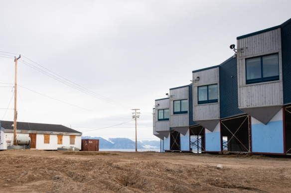 The modern building on the right is one of the bed and breakfast inns in Pond Inlet, Baffin Island, Nunavut, Canada