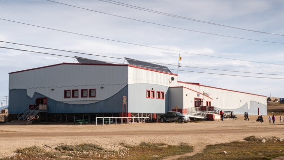 The recently built Community Center at the edge of town in Pond Inlet, Baffin Island, Nunavut, Canada