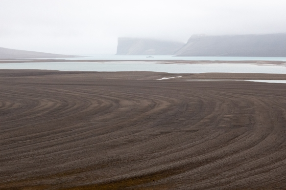 The terrain, while barren, was marked by interesting concentric circles of gravel, Radstock Bay, Devon Island, Nunavut, Canada