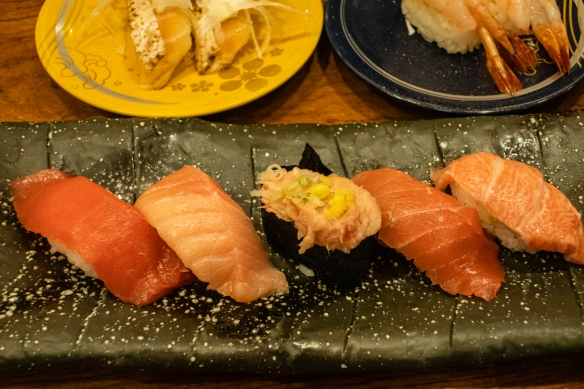 Tuna (five kinds, including toro (fatty tuna belly)) on a platter at Morimori Sushi, Ōmi-chō Market, Kanazawa, Honshu Island, Japan