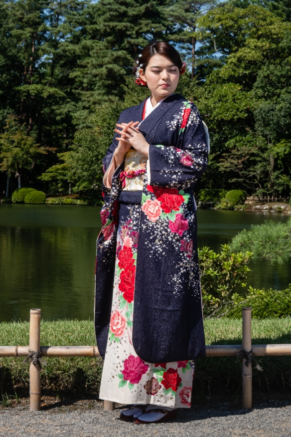 We came across this traditionally dressed woman taking part in a photography shoot in Kenrokuen Garden, Kanazawa, Honshu Island, Japan