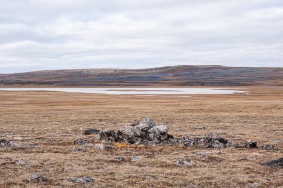 We hiked to the lakes pictured, crossing flat tundra littered with erratic boulders, Nakyoktok River waterway, Johansen Bay, Victoria Island, Nunavut, Canada