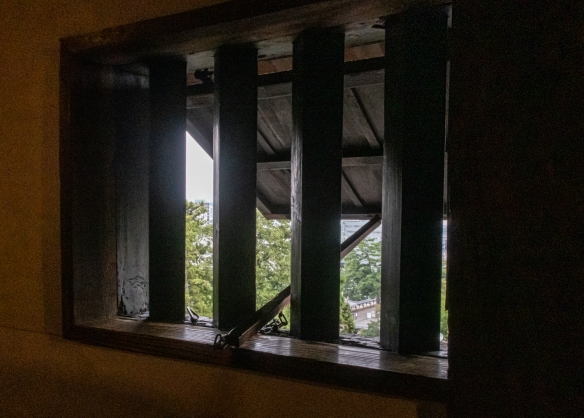 Windows could be opened for both fresh air and for defense of the castle from attacking warriors, Matsue Castle, Matsue City, Shimane Prefecture on Honshu Island, Japan