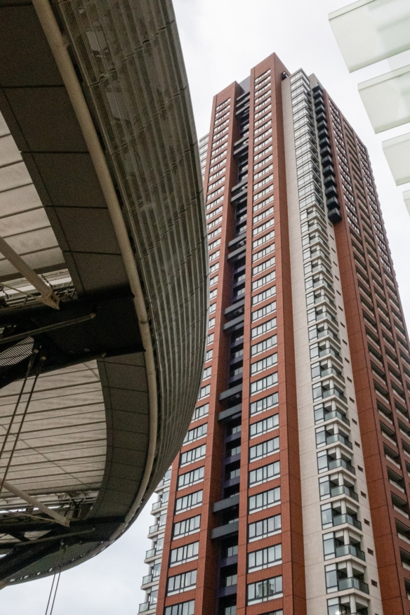 A ground level view of one of the apartment tower buildings at the Mori Center in Roppongi Hills, Tokyo, Honshu Island, Japan