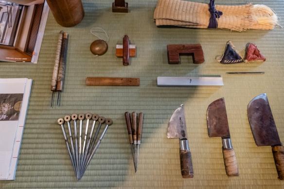 A selection of tatami making tools in the studio of Mitsuru Yokoyama, Kyoto, Honshu Island, Japan [see www.yokoyamatatami.com]