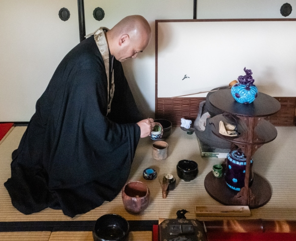 A traditional tea ceremony with centuries-old creamics and tea cups performed by the head monk of Kennin-ji Temple – believed to be the olded Zen Buddhist temple in Japan -- Kyoto, Honshu Island, Japan