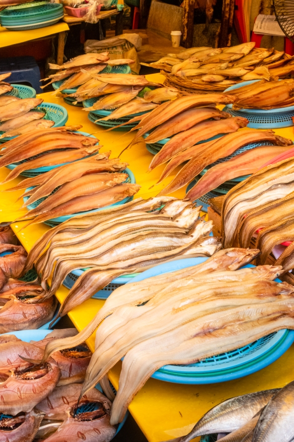 A variety of fresh and smoked fish in a stall at Jagalchi Seafood Market, Busan, South Korea