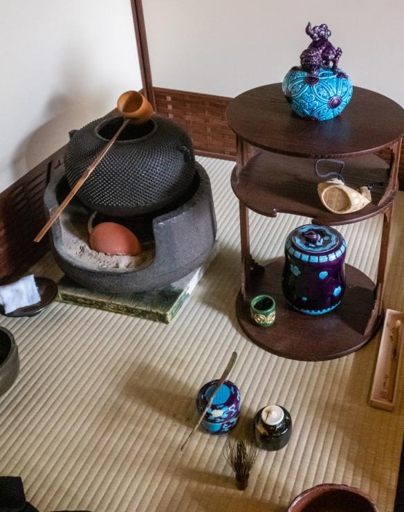 Historic tea ceremony tea pot and cups at Kennin-ji Temple, Kyoto, Honshu Island, Japan
