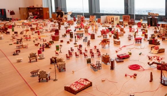 Shiota Chiharu, Collecting Small Memories, 2019, mixed media, at the Mori Art Museum, Tokyo, Honshu Island, Japan