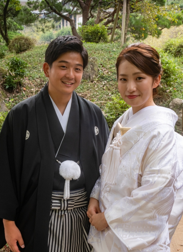 Shukkeien Garden #6, Hiroshima, Honshu Island, Japan – a wedding couple having their portraits made in the garden