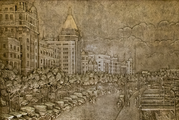 "The atrium of the Fairmont Peace Hotel contains several 1929 metal ""frescoes"" of scenes of Shanghai of the era; this one also depicts buildings along the Bund, but a street scene (looking north) with automobiles from the 1920s"