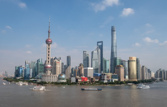 The Fairmont Peace Hotel is the best spot we've discovered in Shanghai (on the west side of the Huangpu River) for a view of the curved section of Pudong and its concentration of high-rise buildings; China