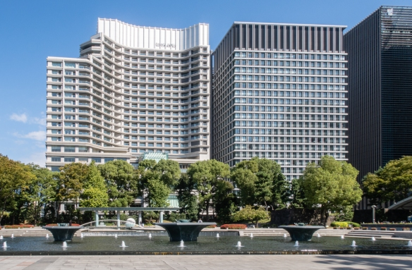 The Gardens of the Imperial Palace, Tokyo, Honshu Island, Japan #2 -- this entrance to the Gardens is directly west of Tokyo Station with the Palace Hotel Tokyo and the Nippon Life Insurance Marunouchi Garden visible behind the fountains