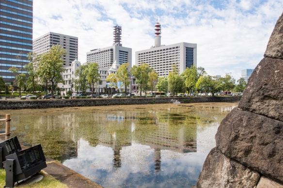 The Gardens of the Imperial Palace, Tokyo, Honshu Island, Japan #8 – more office buildings (with lots of communications antennas) are clustered across from the Imperial Gardens southeast corner's former Imperial Castle moat