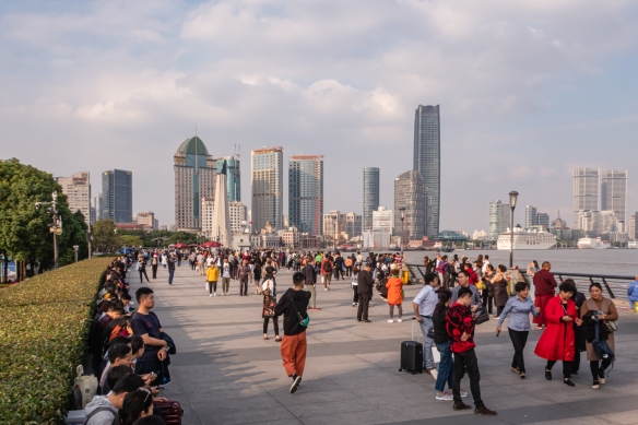 The promenade along the quay on the Bund (looking north) along the Huangpu River, with our docked ship visible on the right; Shanghai, China