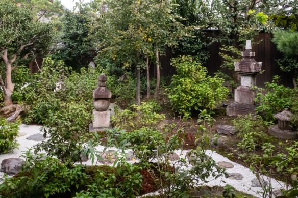 The small garden outside the tea room where we had a formal tea ceremony at Kennin-ji Temple, Kyoto, Honshu Island, Japan