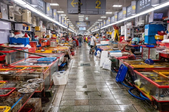 The street-side front aisle (one of three), nearly one city-block long, lined with fish and seafood vendors in Jagalchi Seafood Market, Busan, South Korea