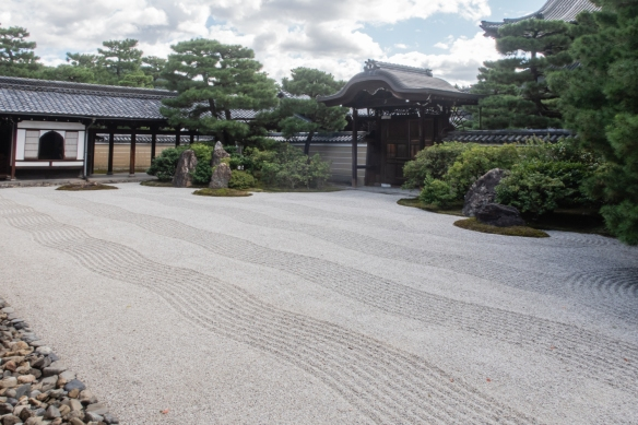 The traditional Japanese rock garden at Kenninji Temple, Kyoto, Honshu Island, Japan, is regarded as one of the finest in the country