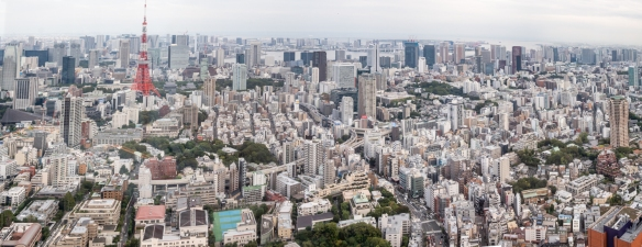 The view of the Shinagawa and Haneda districts of Tokyo, Japan, from the Observation Deck on the 52nd floor of the Mori Tower in the upscale Roppongi Hills development