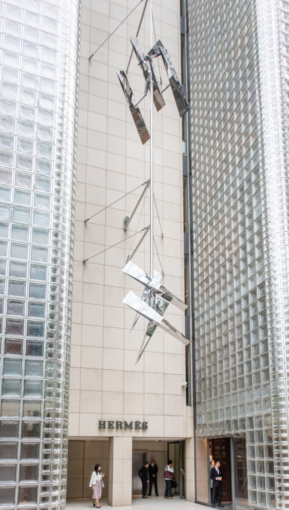 Tokyo architecture walk, Honshu Island, Japan #6 – A 12-story sculpture mounted above the entrance to Maison Hermès in the Ginza district