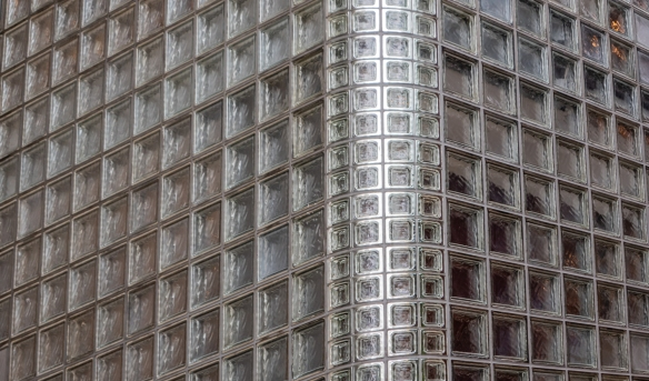 Tokyo architecture walk, Honshu Island, Japan #7 – A section of the glass block façade of Maison Hermès in the Ginza district