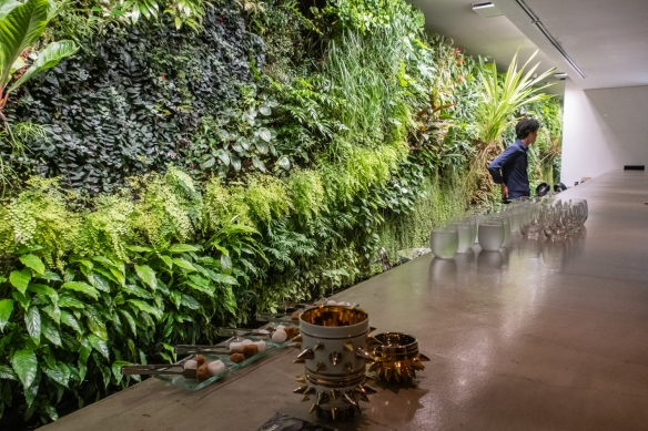 Tokyo architecture walk, Honshu Island, Japan #9 – the interior of the hard to find (practically hidden) Wall restaurant in the Aoyama district, featuring one of the first vertical gardens (a green, live plant wall) in the world
