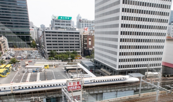 Tokyo International Forum, Tokyo, Honshu Island, Japan #9 – looking out the windows to see a bullet train pulling into Yūrakuchō Station immediately adjacent to the convention center