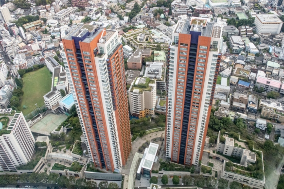 Two of the apartment buildings adjacent to the Mori Tower in the upscale Roppongi Hills development, Tokyo, Honshu Island, Japan